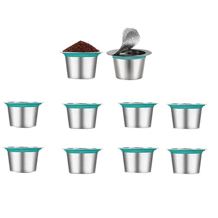 10 PièCes SéRies Recharge Café Capsules en Acier Inoxydable Rechargeable pour Nespress Café Capsule Café Filtres Tasse