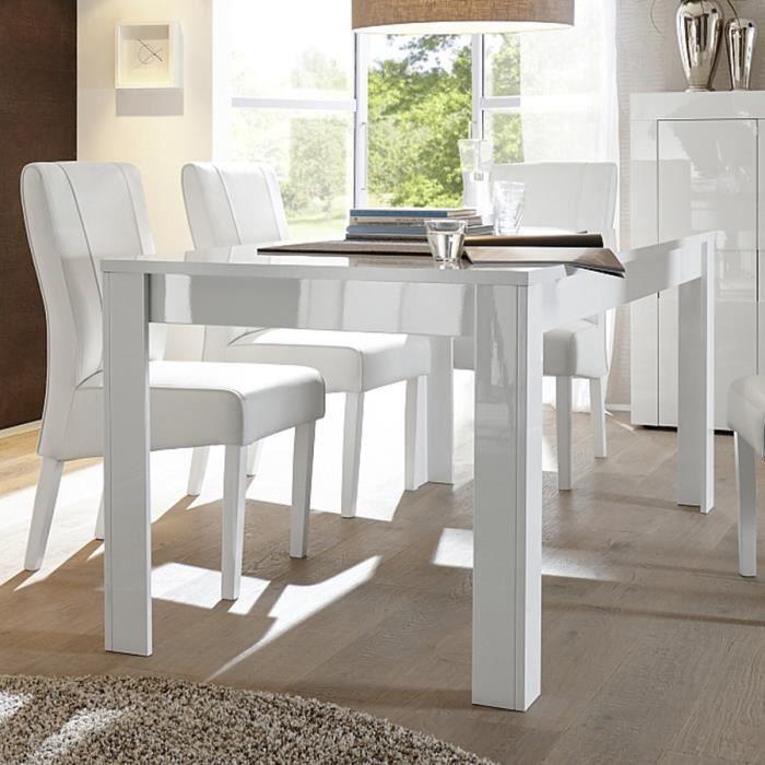 TABLE À MANGER SEULE Table à manger blanc laqué brillant design NEWLAND