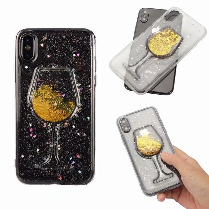 Coque iPhone 8.Verre à vin rouge or sables mouvants liquide l ...