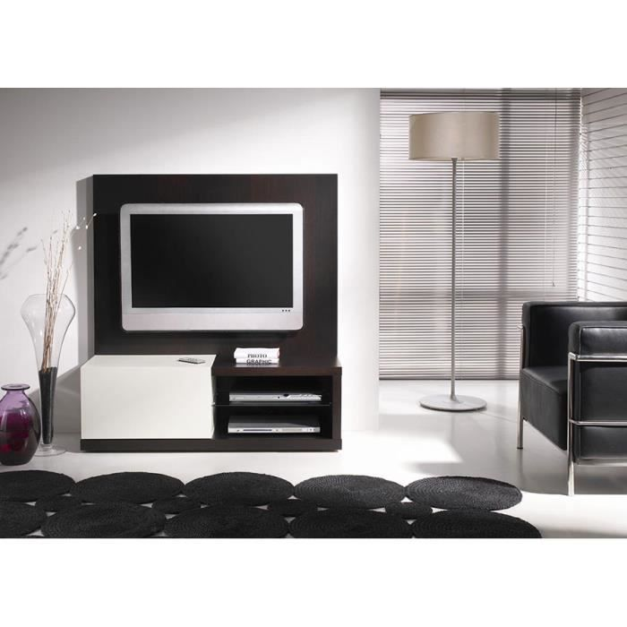 meuble tv weng et blanc laqu contemporain angie avec panneau arri re achat vente meuble tv. Black Bedroom Furniture Sets. Home Design Ideas