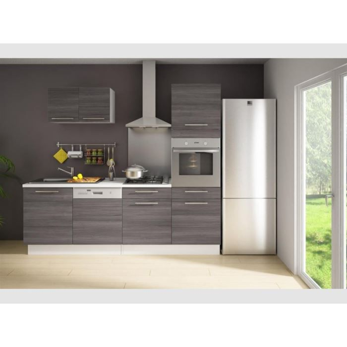 cuisine compl te 240cm bois gris latitude achat vente. Black Bedroom Furniture Sets. Home Design Ideas