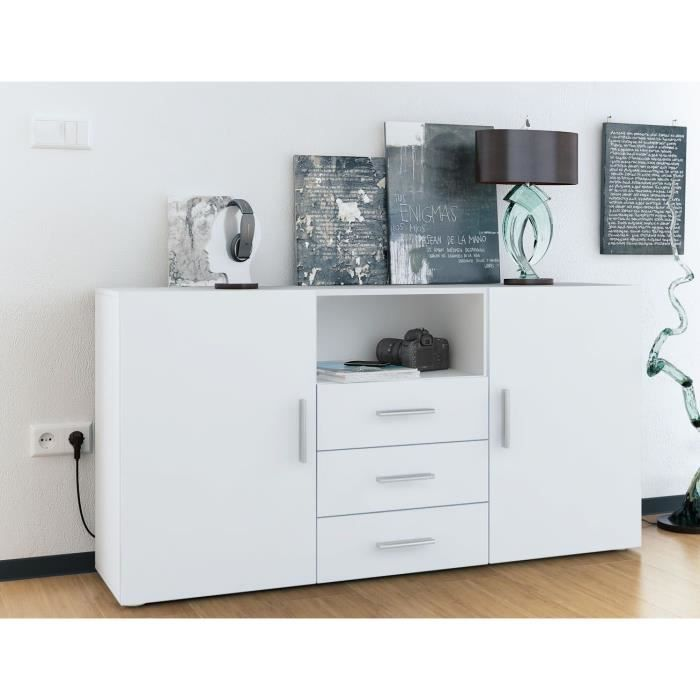 buffet enfilade blanc mat 3 tiroirs achat vente buffet bahut buffet enfilade blanc mat 3. Black Bedroom Furniture Sets. Home Design Ideas