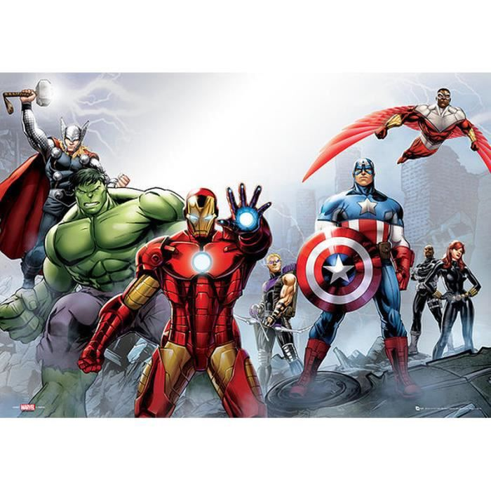 poster marvel avengers achat vente affiche cdiscount. Black Bedroom Furniture Sets. Home Design Ideas