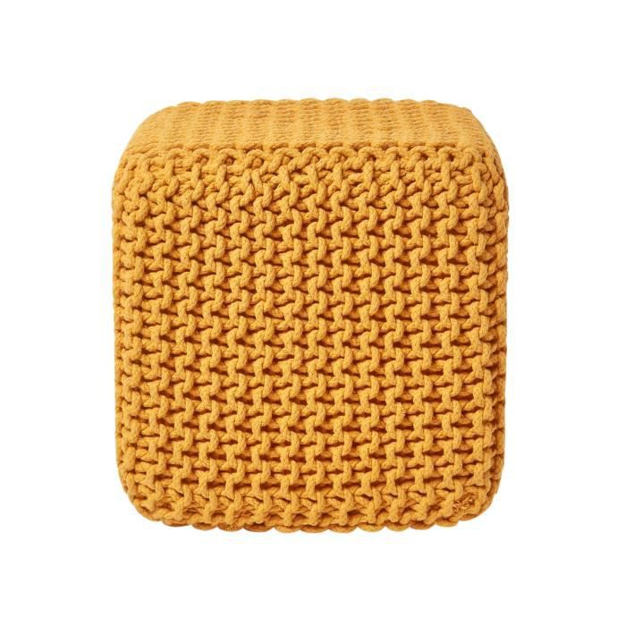 pouf repose pieds en tricot cube jaune achat vente pouf poire cdiscount. Black Bedroom Furniture Sets. Home Design Ideas