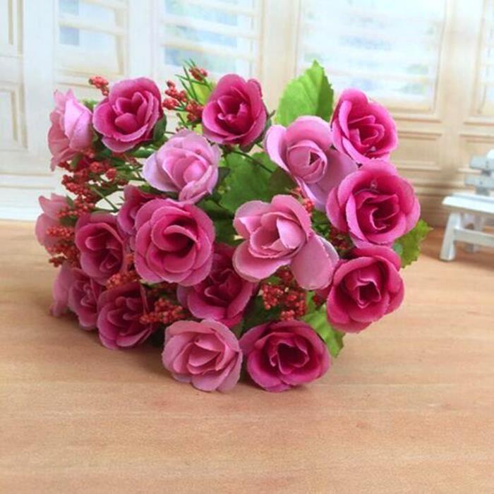 21pcs têtes bouquet fleurs artificielle de rose - rouge - Achat / Vente fleur artificielle ...