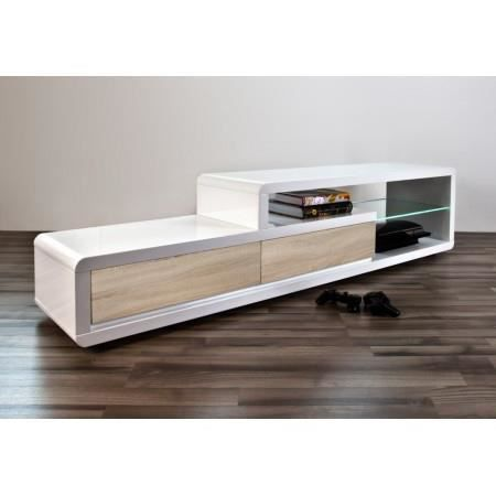 meuble tv design alice ii laqu blanc bois le achat. Black Bedroom Furniture Sets. Home Design Ideas