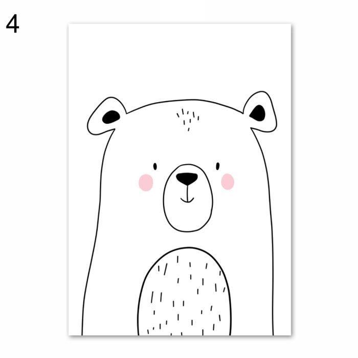 Dessin Anime Lapin Renard Ours Animal Moderne Maison Peinture Murale Toile Image Affiche 4 30 40 Cm Achat Vente Tableau Toile Cdiscount