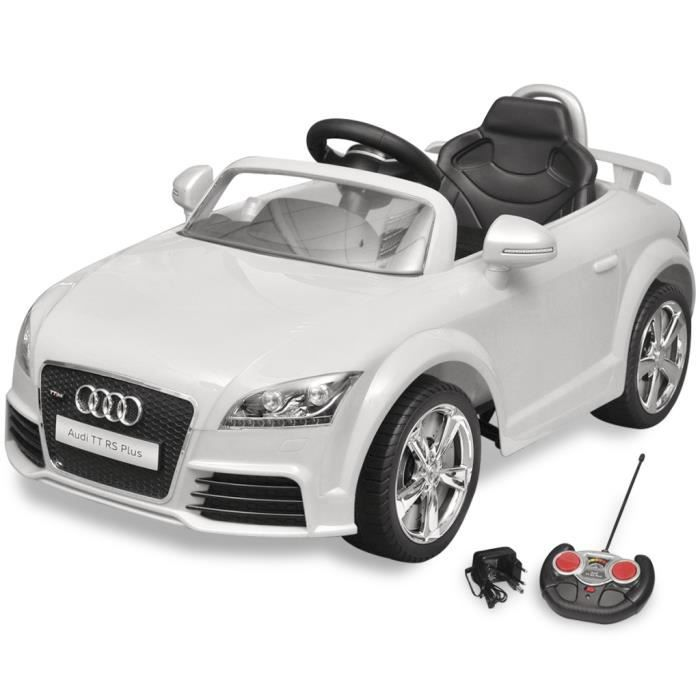 voiture lectrique pour enfant audi tt rs blanche avec. Black Bedroom Furniture Sets. Home Design Ideas