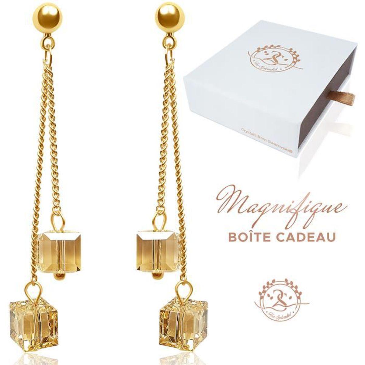 Boucles d/'oreilles en or plaqué or en argent 925 en cristal sterling pour