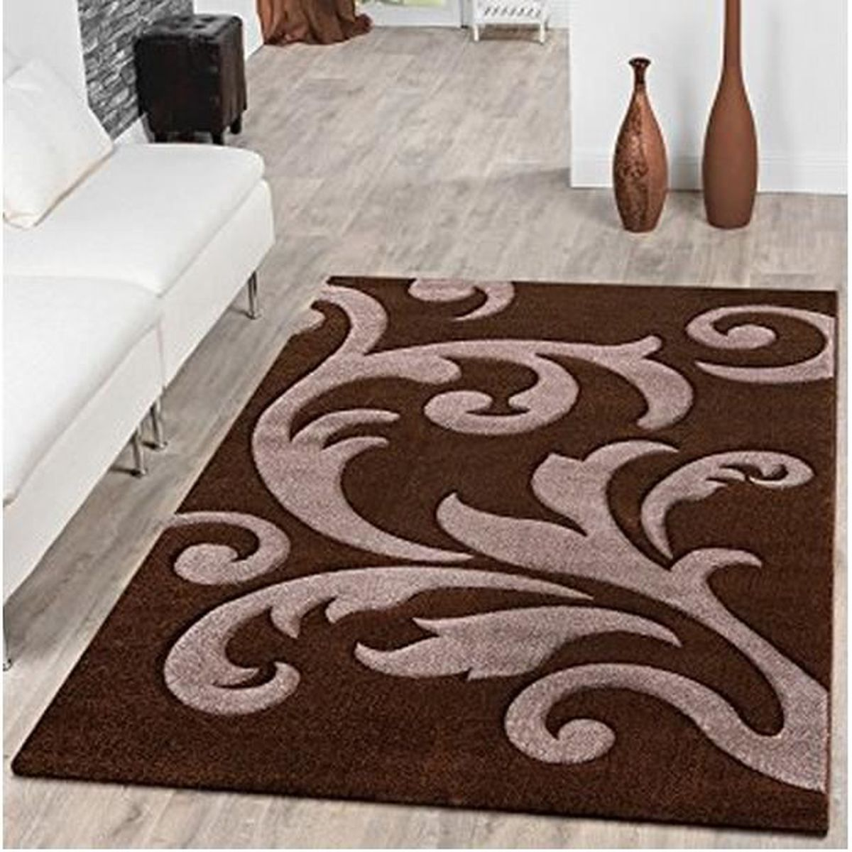 tapis salon tapis levante moderne avec motif floral marron. Black Bedroom Furniture Sets. Home Design Ideas