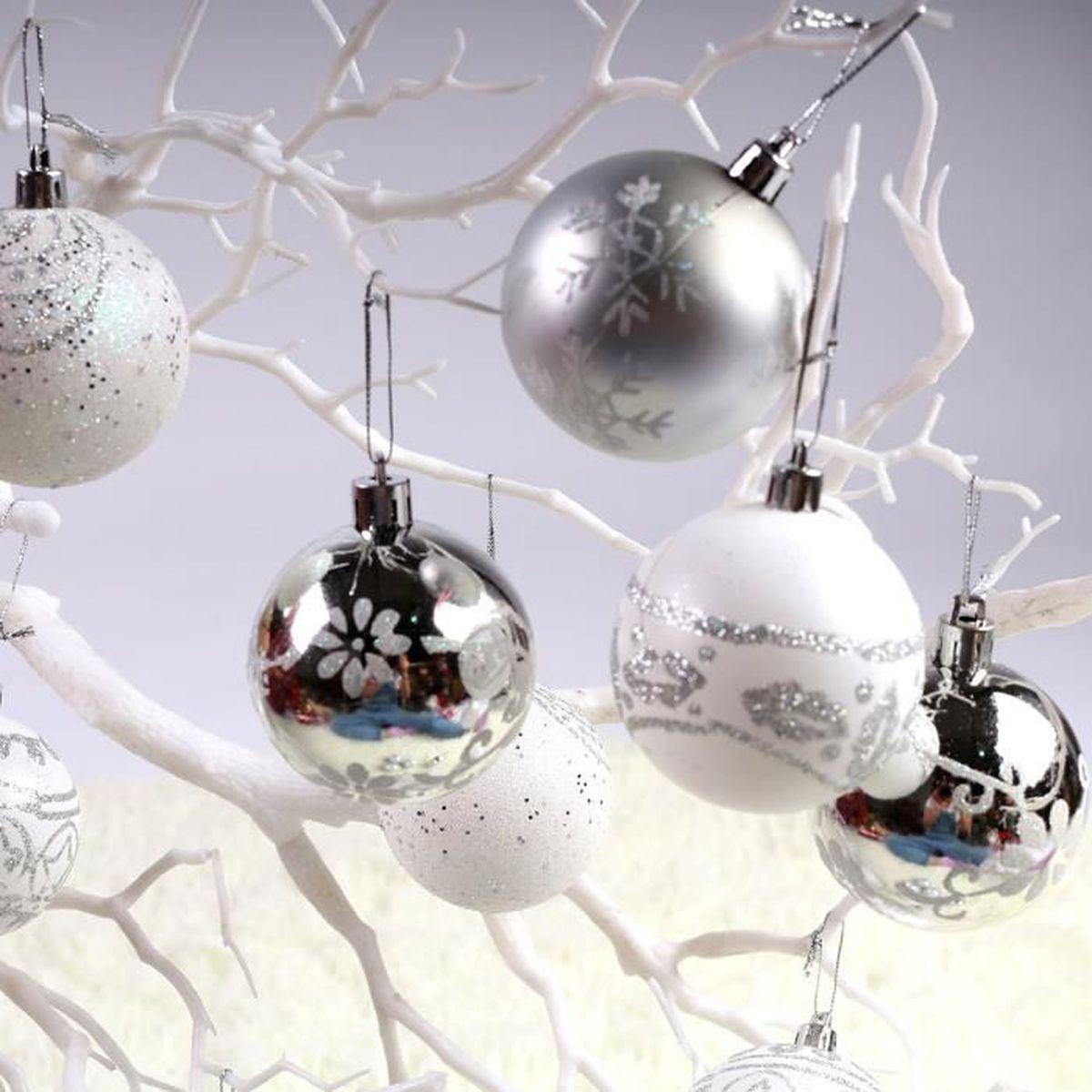 Boule De Noel Transparente A Decorer lot 24 boules pvc pour décoration noel 6 modèles différent 4