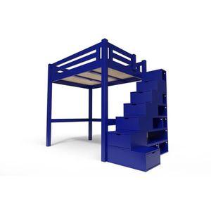 LIT MEZZANINE ABC MEUBLES -Lit Mezzanine Alpage bois + escalier