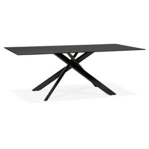 TABLE À MANGER SEULE Table de salle à manger 'BIRDY' en verre noir avec