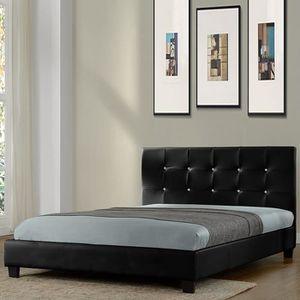 STRUCTURE DE LIT Lit design noir avec sommier 160 x 200 cm - Relax