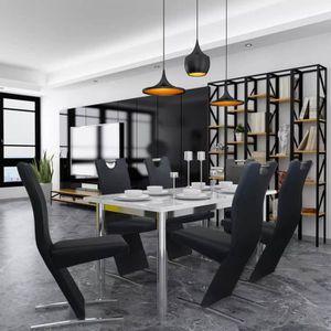 CHAISE Chaises de salle à manger 6 pcs Noir en cuir artif