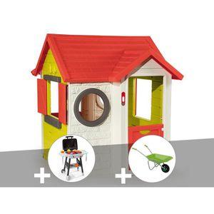 MAISONNETTE EXTÉRIEURE Cabane enfant My House - Smoby + Plancha + Brouett