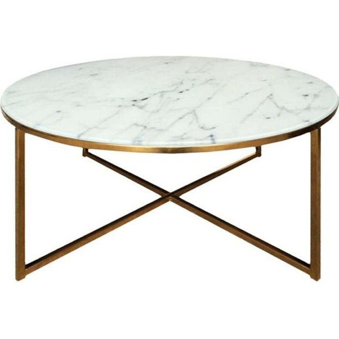 Alisma Table Basse Ronde Style Contemporain En Chrome Dore
