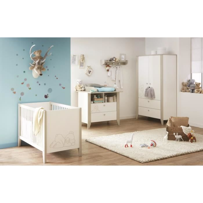 ourson chambre b b compl te lit armoire commode blanc et taupe achat vente chambre. Black Bedroom Furniture Sets. Home Design Ideas