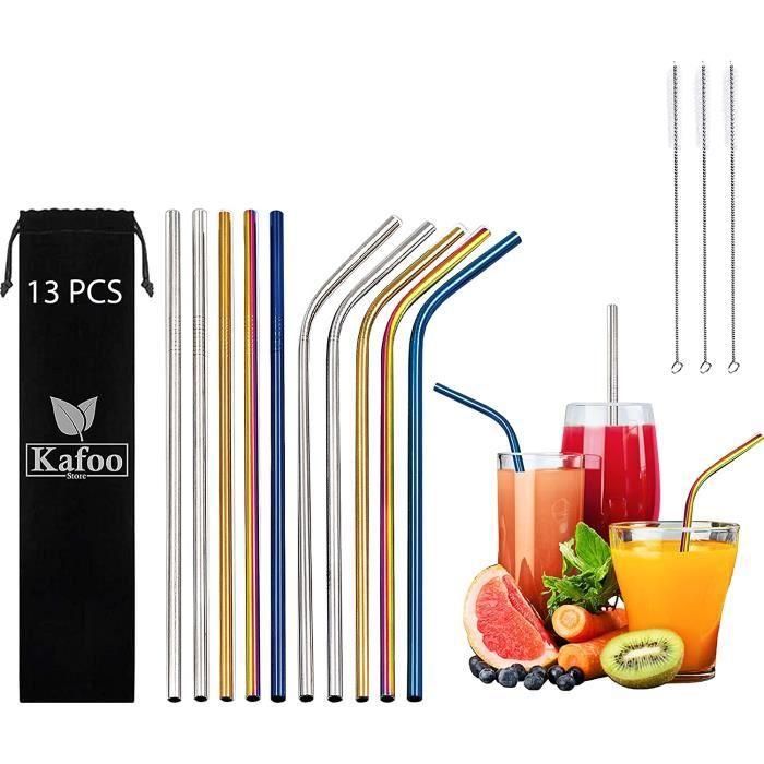 KafooStore Pailles INOX Reutilisables, 10 Pailles INOX en Acier Inoxydable, Alternative Ecologique au Plastique, Lot de 10 Pailles I
