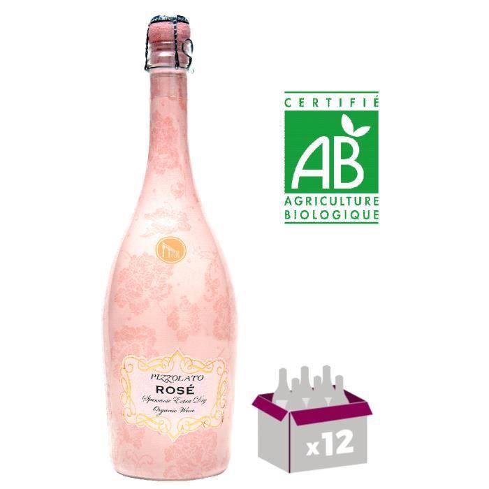 Lot de 12 bouteilles Prosecco Ice Rosé - Bouteille Luminescente - Bio et Vegan - La Cantina Pizzolato