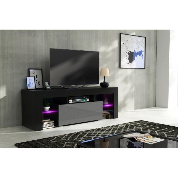 Meuble tv 130 cm noir mat et gris laqué + led RGB