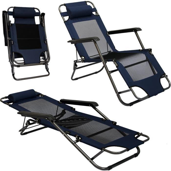 Chaise Longue Pliable pour camping et jardin - Transat Inclinables avec repose-tête - couleur bleu foncé - Structure en acier - P...