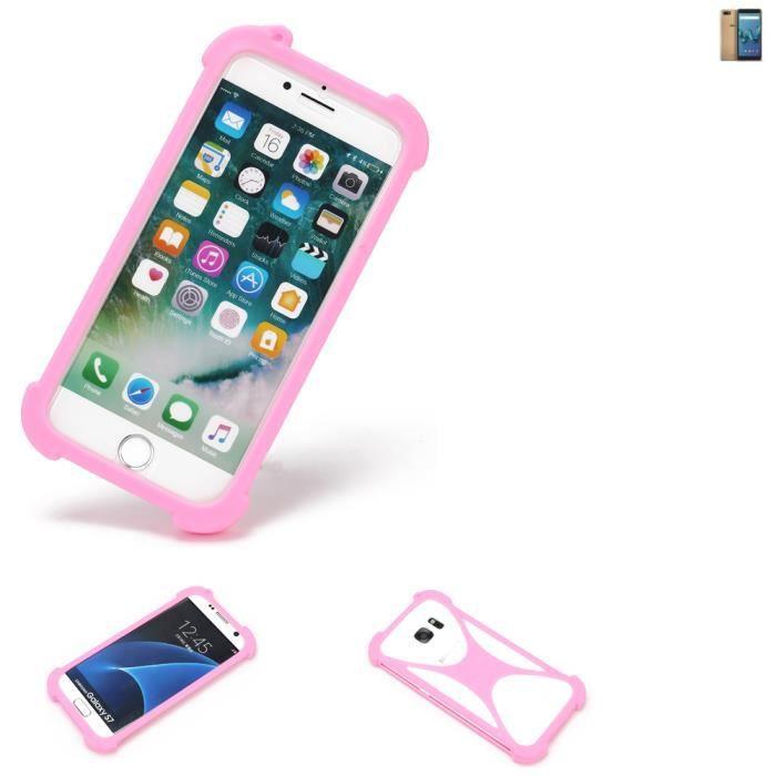 Pare-chocs pour Wiko Tommy 3 Silicone Bumper téléphone portable protection rose, 1x 181702