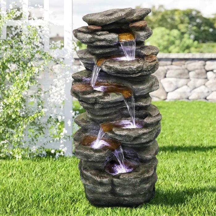 WATURE Fontaine de jardin Rockery - 101 cm Jeu d'eau d'extérieur avec lumière LED et son apaisant pour l'intérieur et l'extérie A37