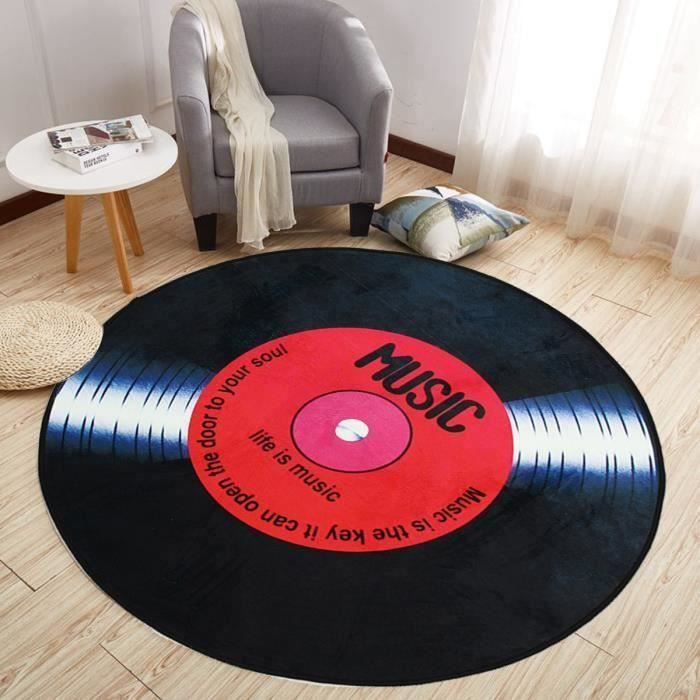 Vinyle Records Tapis de Sol Rond Europe Mode Rétro Noir pour Salon Chambre Tapis de Sol Diamètre 100CM Ma12861