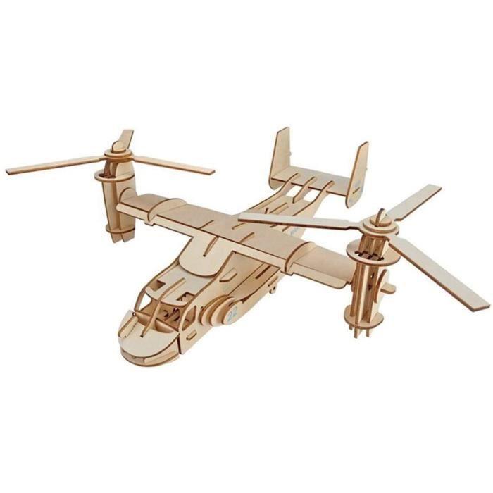 SXPC Creative DIY Avion 3D Puzzle Osprey Avion en Bois Puzzle Game Toy Assembl&eacutee pour Adultes gar&ccedilons avec 51 pcs