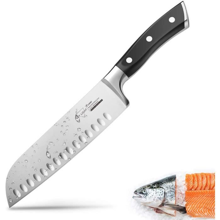 Couteau Japonais 17cm Couteau Santoku Professionnel Couteau de Cuisine Couteau de Chef en Acier Inoxydable Carbone, Garantie à vie