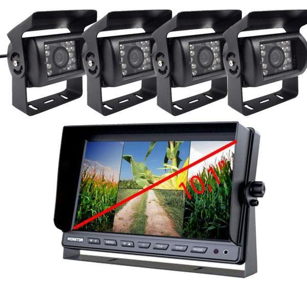 Yatek Lot de 4 caméras de recul couleur et 1 écran 10,1- Pour véhicules de grande taille et agricoles