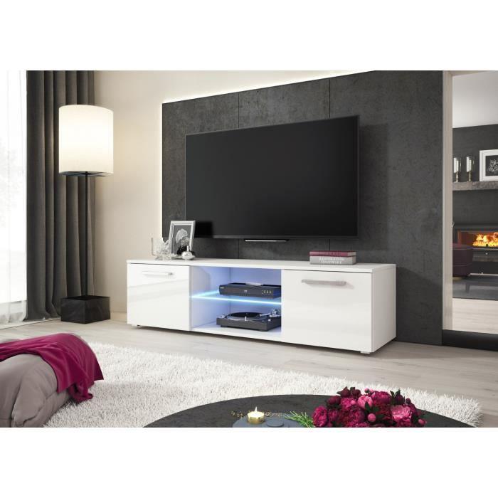 e-Com Meuble TV Zeus avec LED - 140 cm - Mat Blanc et Blanc Brillant