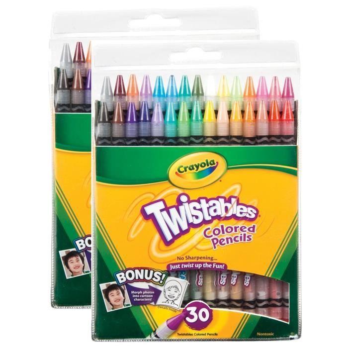 CRAYOLA Twistables Crayons de couleur, 30 couleurs assorties Paquet de 2, 30 couleurs par 1Q5XWT