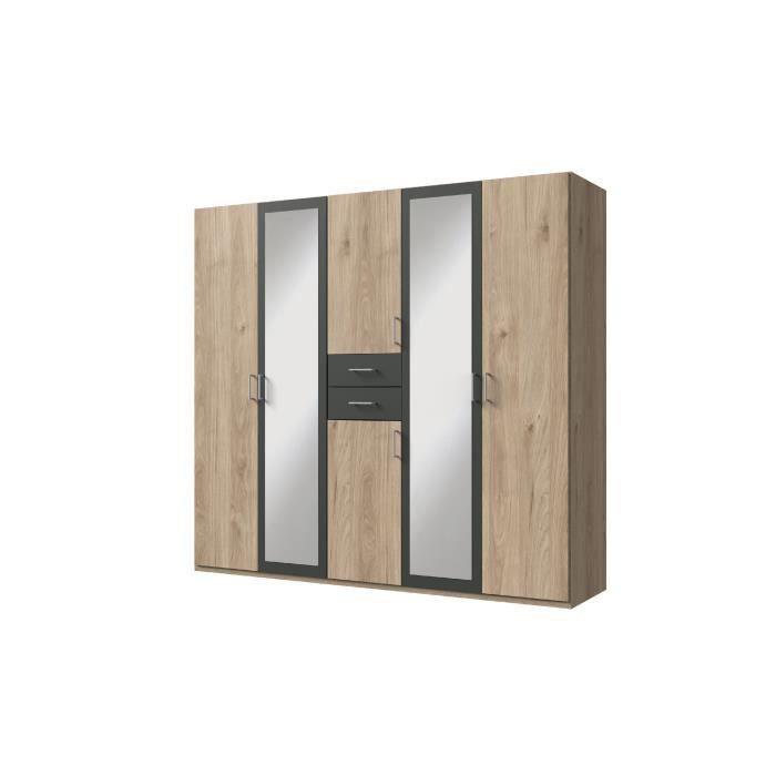 DIVER Armoire de chambre grande capacité - Décor chêne et graphite - L 225cm
