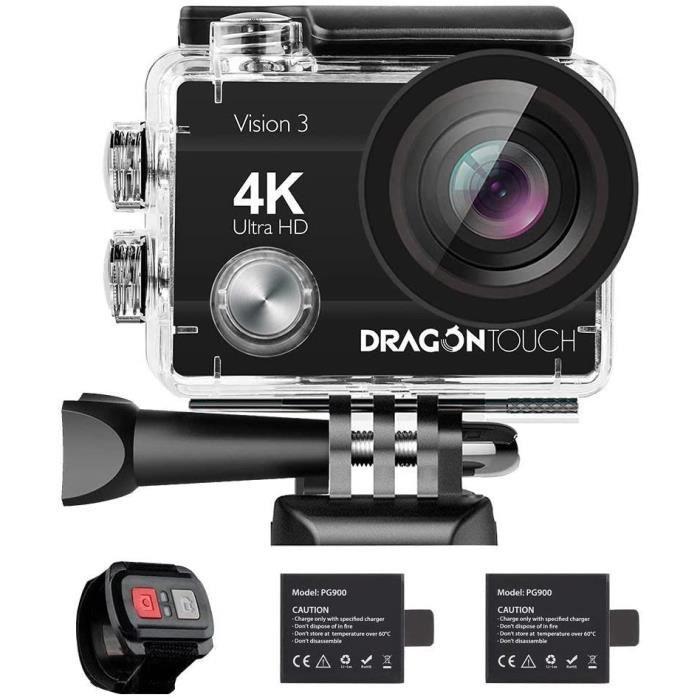 Dragon Touch Vision 3 Caméra Sport 4k WiFi avec Télécommande 2.4G, Etanche, 170°, Kits d'Accessoires, App (XDV)