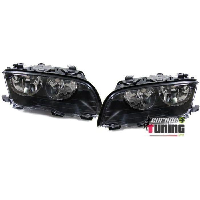 2 PHARES AVANTS NOIRS FEUX BMW SERIE 3 E46 5 PORTES 1998-2001 (05339)