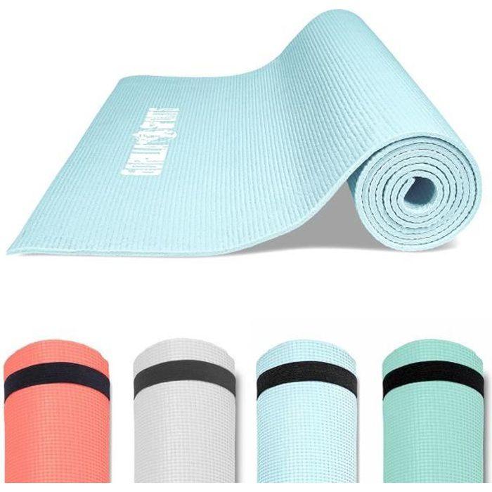 GORILLA SPORTS ® Tapis de yoga, Pilates et fitness PVC Bleu clair avec sangle - 180 x 60 x 0,5 cm