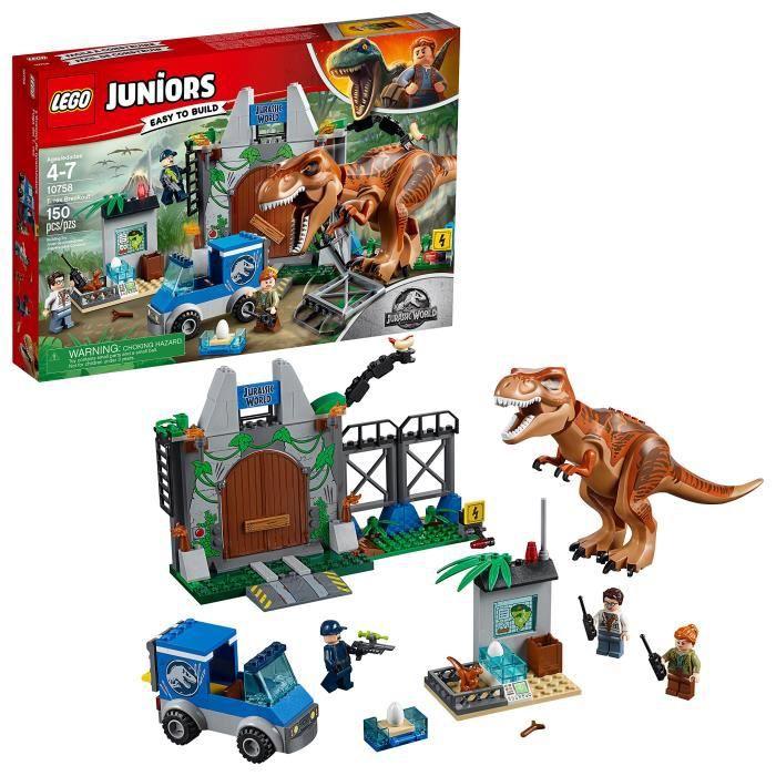 Jeu D'Assemblage LEGO Juniors - 4 + Jurassic T. Rex Monde Breakout 10758 Kit de construction (150 pièces) PA8RQ