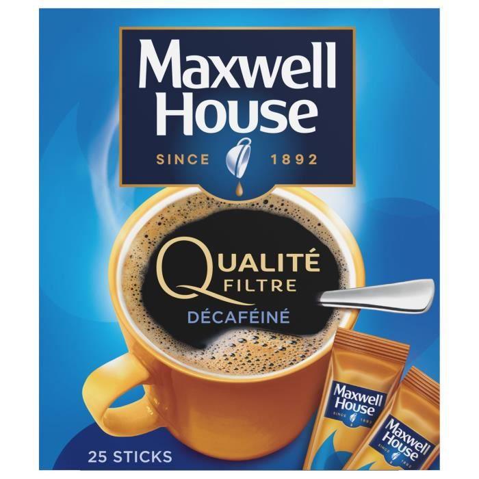 Café soluble décaféiné Qualité filtre Maxwell House - 25 sachets