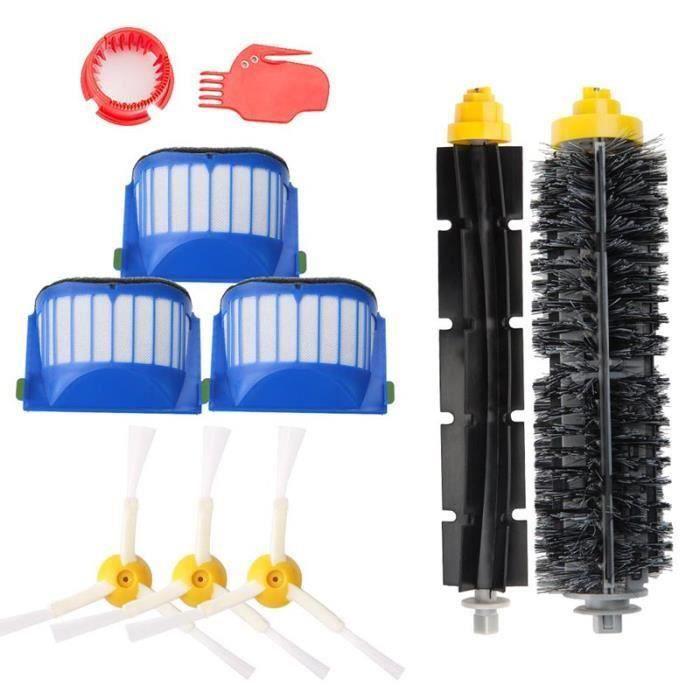 Remplaçant Kit secours d'accessoires pour iRobot Roomba série 585 600 605 615 616 620 630 631 632 639 650 651 Filtres et Brosses