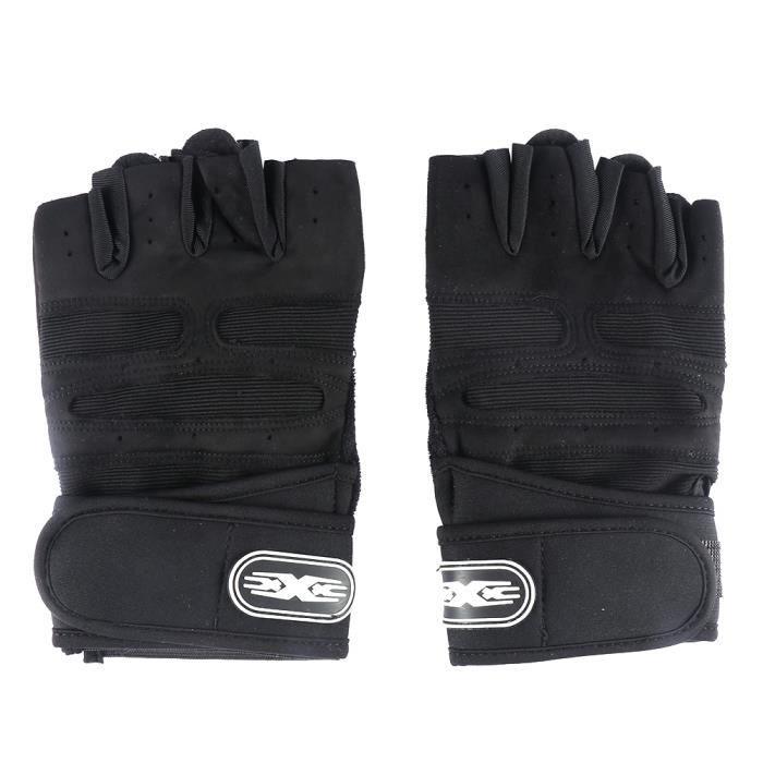 Gant de musculation,Mitaine Half Finger Gants de remise en forme poignet étendu mouvement de glissement respirant Relax Noir
