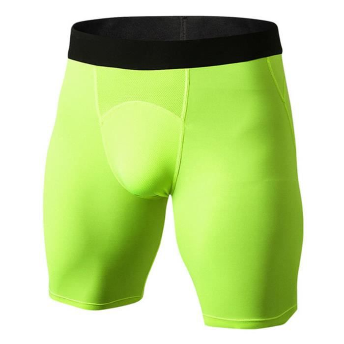 Hommes Shorts Court Sport Compression Élastique Leggings Short Slim Collant Cyclisme Fitness Séchage Rapide Vert