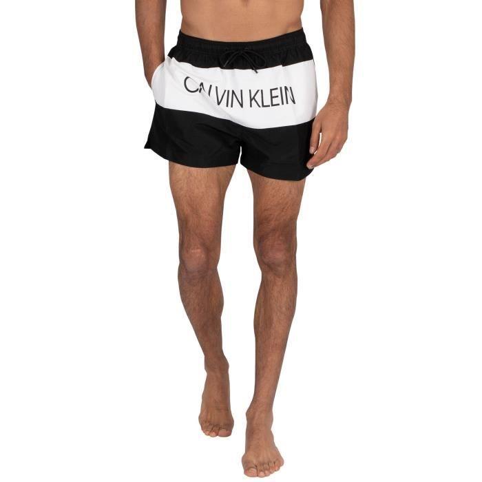 Calvin Klein Pour des hommes Short de bain à cordon coulissant, Noir