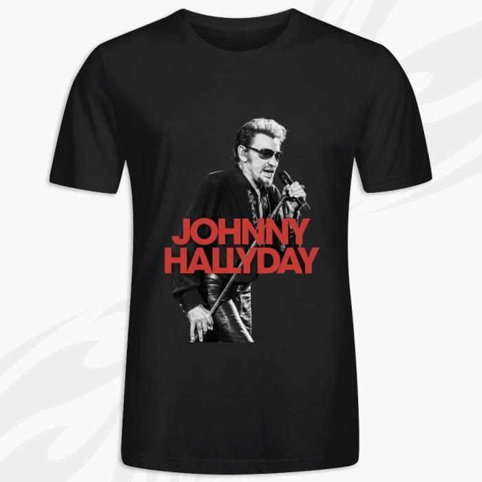 T-Shirt avec imprimé en Johnny Hallyday les annees live warner LOGO Manche Courte Tee - Homme