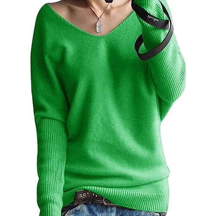 Pull Femme Laine Maille Col V Hiver Chaud Manches Longues Tricot Chandail Pullover Top