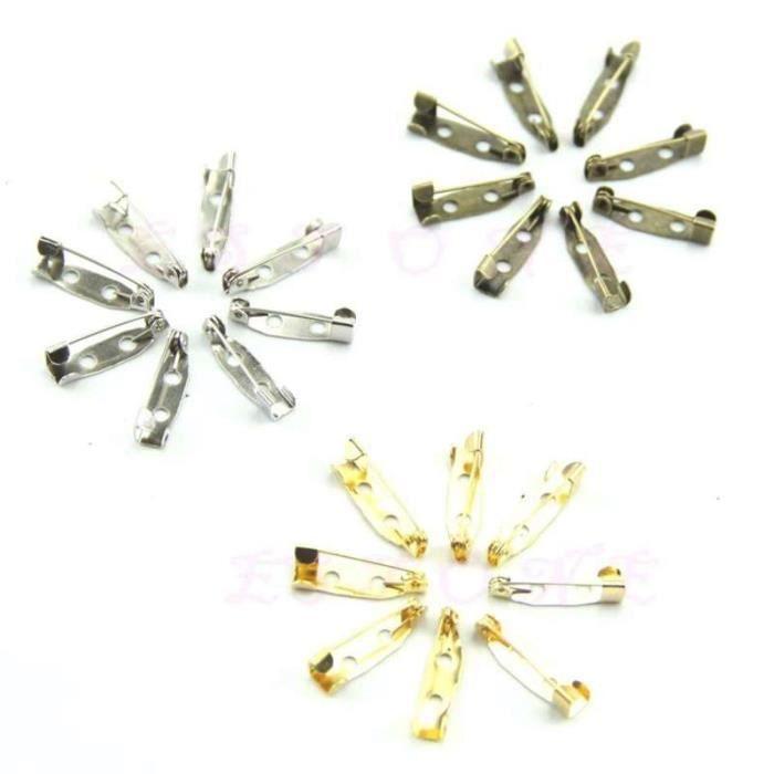 Lot de 20 épingle à sûreté Accessoire création broche bijoux support CABOCHON FImo 20 mm 2 trou (dorée)