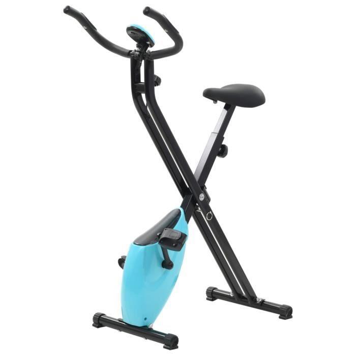 Vélo d'appartement-Vélo elliptique Cardio-fitness musculation magnétique avec mesure du pouls Noir et bleu