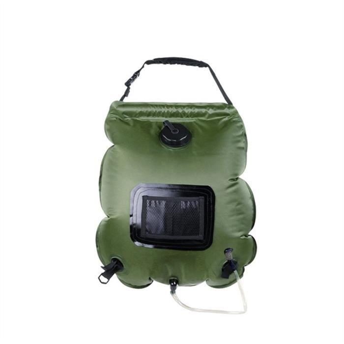 20L solaire camping sac de douche en plein air Voyage randonnée solaire sac d'eau chaude chauffée (vert armée)
