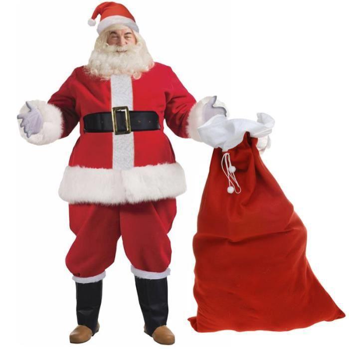 Déguisement de Père Noël Luxe Homme - 10 Pièces - Costume Complet et Hotte du Pere Noel Incluse